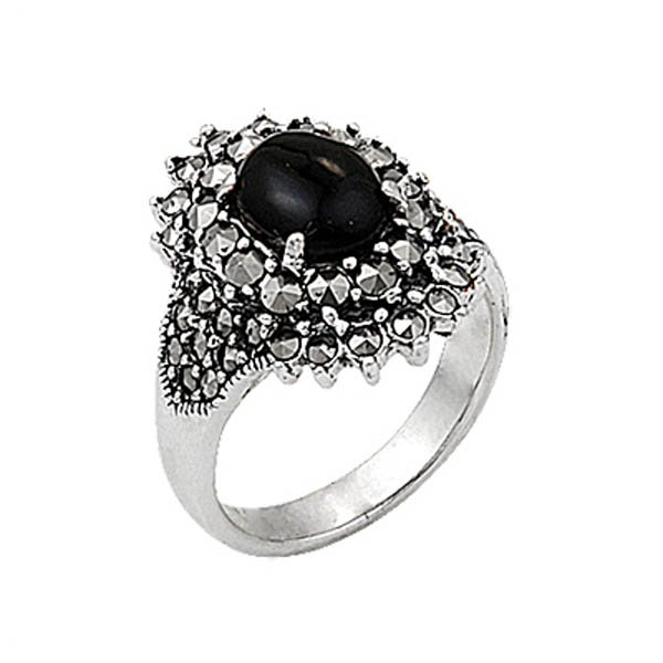 Natural Stone Silver Marcasite Ring - R00339