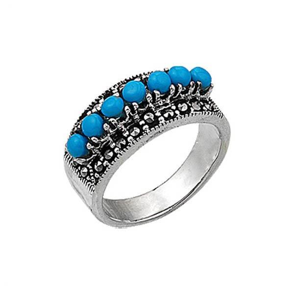 Natural Stone Marcasite Ring - R00341