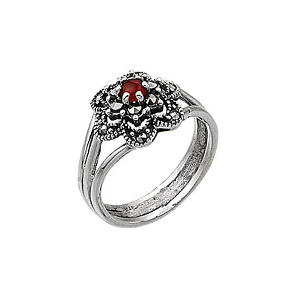 Natural Stone Silver Marcasite Ring - R00345