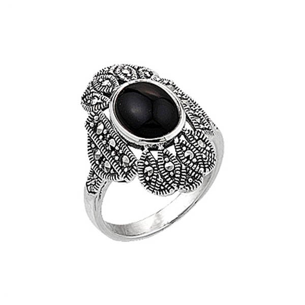Natural Stone Marcasite Ring - R00349