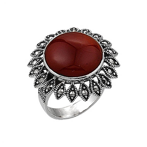 Natural Stone Marcasite Ring - R00352