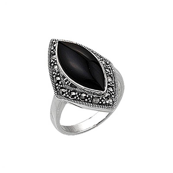 Natural Stone Marcasite Ring - R00358