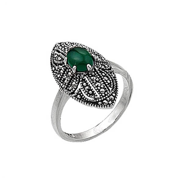Natural Stone Marcasite Ring - R00366