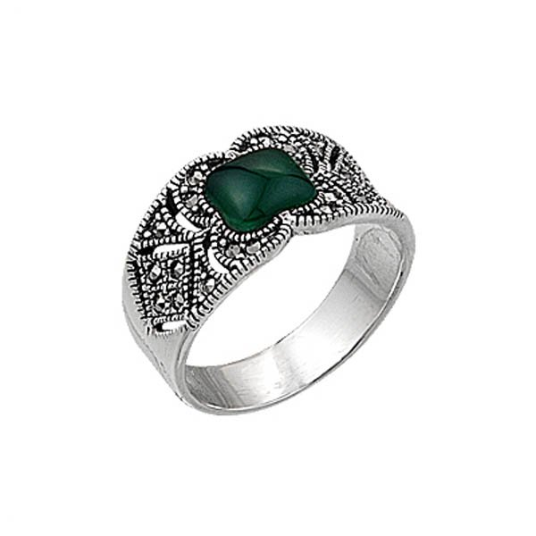 Natural Stone Marcasite Ring - R00370
