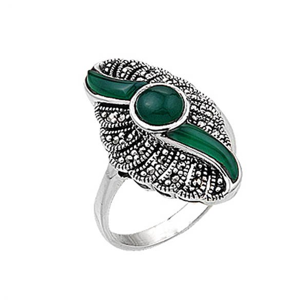 Natural Stone Marcasite Ring - R00376