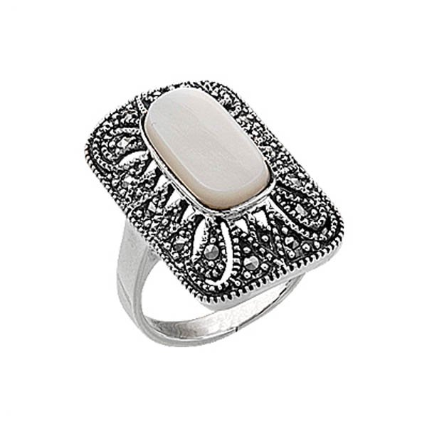 Natural Stone Marcasite Ring - R00379
