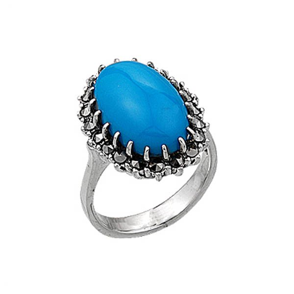 Natural Stone Silver Marcasite Ring - R00383