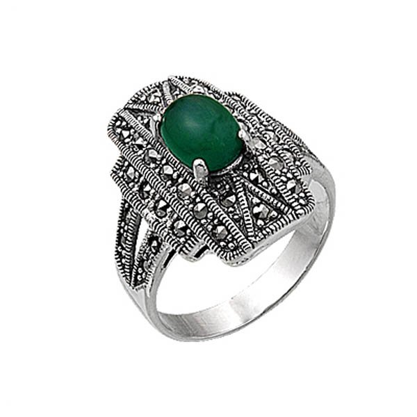 Natural Stone Marcasite Ring - R00384