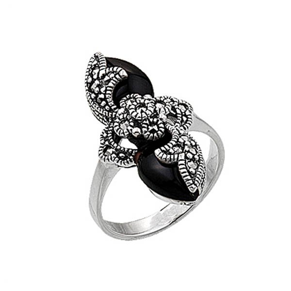 Natural Stone Silver Marcasite Ring - R00385