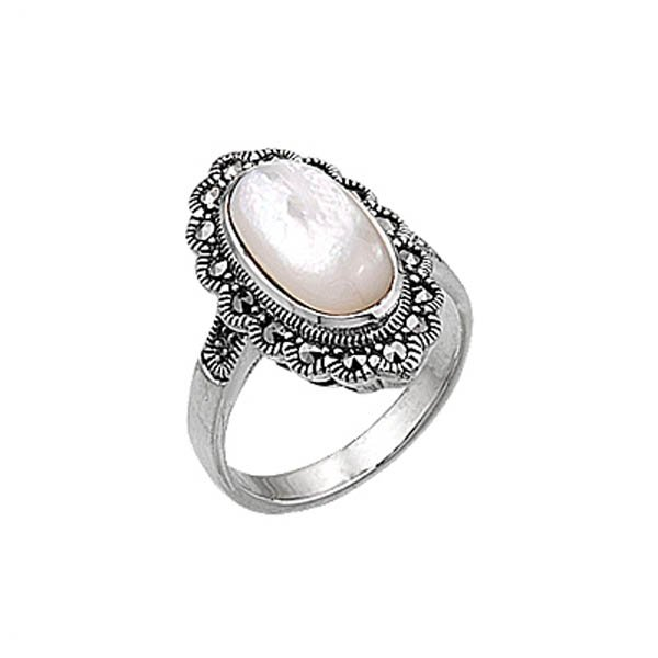 Natural Stone Marcasite Ring - R00393