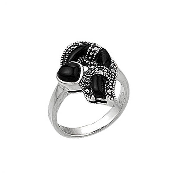 Natural Stone Silver Marcasite Ring - R00395