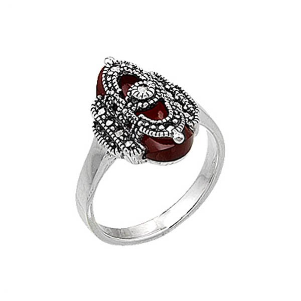 Natural Stone Marcasite Ring - R00399