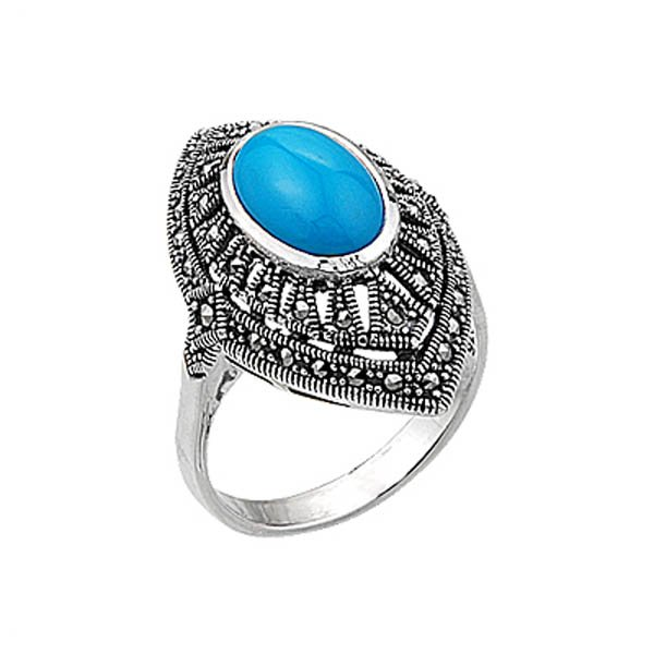 Natural Stone Marcasite Ring - R00401