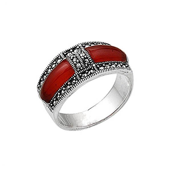 Natural Stone Silver Marcasite Ring - R00405
