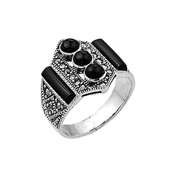 Silver Marcasite Ring - R00406