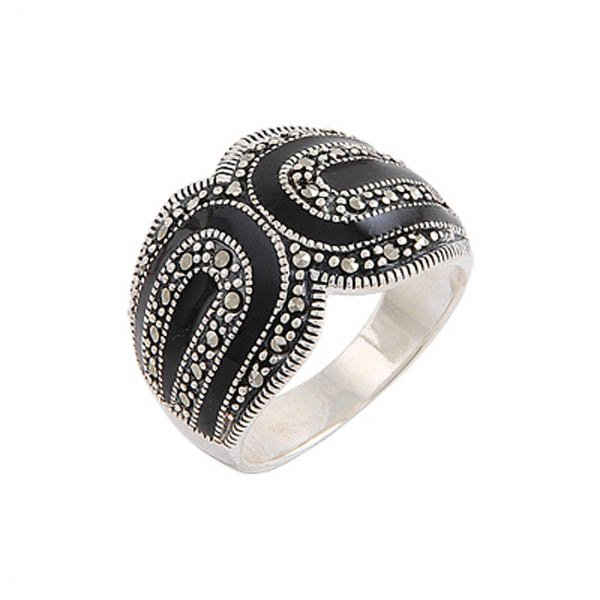 Enamel Marcasite Ring - R00508