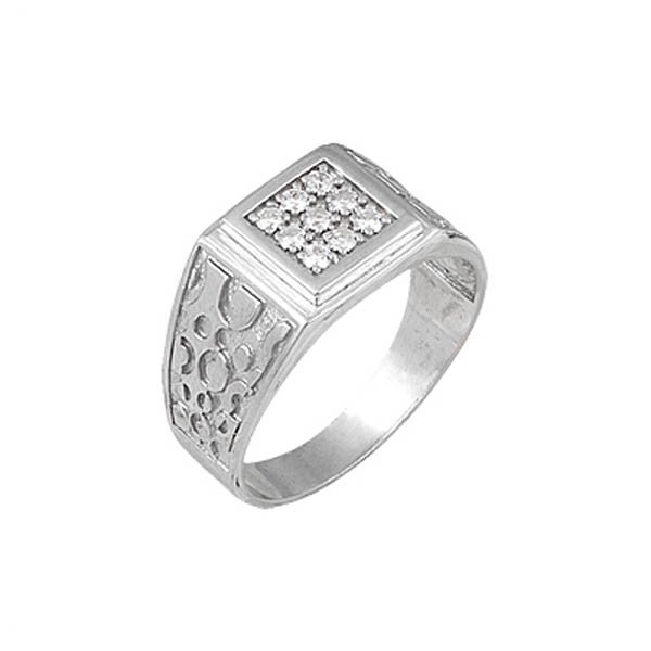 Rhodium Plated Silver Ring - R00607