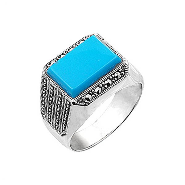 Natural Stone Silver Marcasite Mens Ring - R00640
