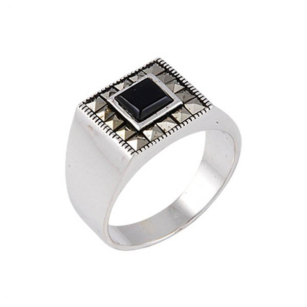 Natural Stone Silver Marcasite Mens Ring - R00647