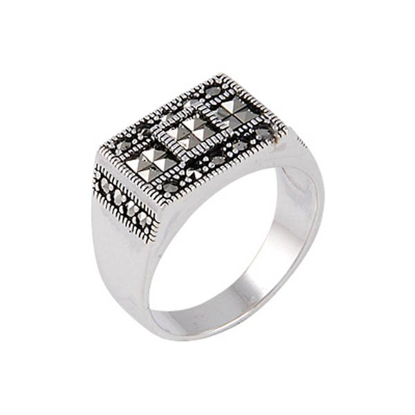 Silver Marcasite Mens Ring - R00648