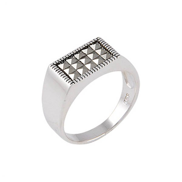 Silver Marcasite Mens Ring - R00651