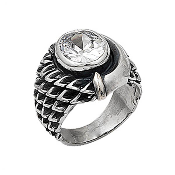 Silver Zirconia Mens Ring - R00672