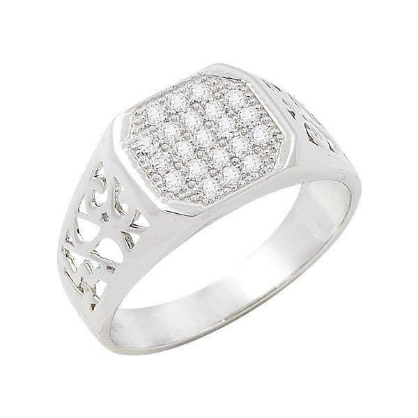 Silver Zircon Mens Ring - R08468