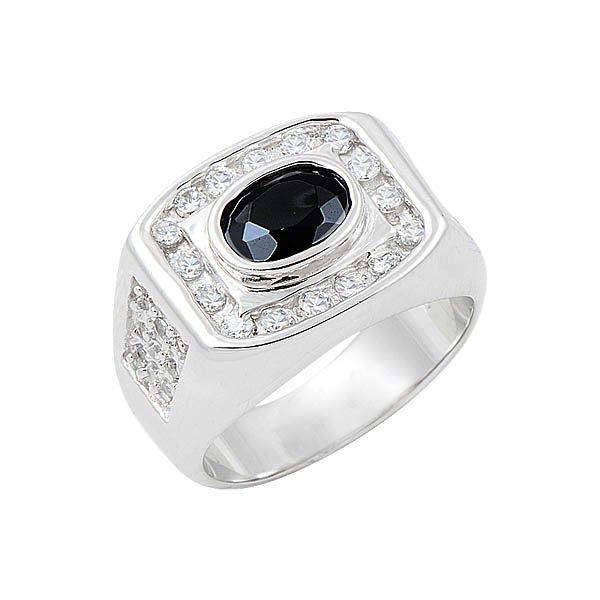 Silver Zircon Mens Ring - R08479