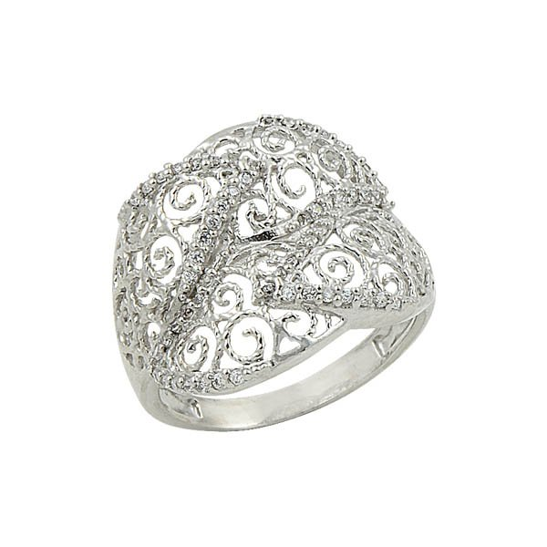 Silver Zircon Ring - R09007